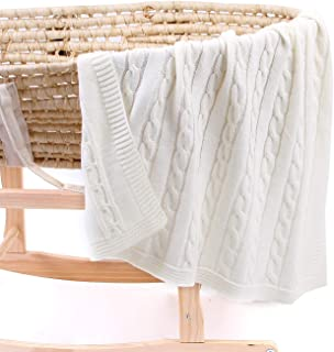 """Sumery Su Infants Baby Blankets Knit Toddler Blanket for Newborn Boy and Girls Size 30""""x 40"""" Ivory"""