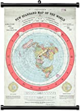 ASENART Flat Retro Earth Map - Gleason's New Standard Map of The World Canvas Print Scroll Poster with Black Plastic Scroll Hanger Ready to Hang-12