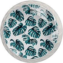 Ladeknop Pull Handle 4 stuks Crystal Glass Cabinet lade trekt kast knopen,tropische bladeren en koraal bloemen