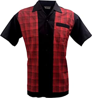 Retro Fashions Camisa de manga corta para hombre Rockabilly Rojo Negro S-3XL