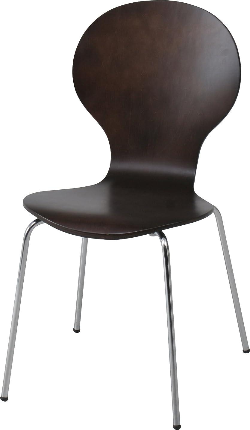 ニッケルねばねばひそかに不二貿易 椅子 チェア 幅48cm ブラウン 木製 スタッキング可能 エピチェア 96806