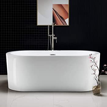 "Woodbridge b-0030/bts1606 67"" x 32"" Water Jetted and Air Bubble Freestanding Bathtub, BTS1606, B-0030 Whirlpool"