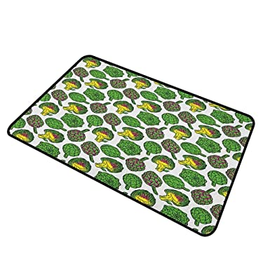 """shirlyhome Christmas Doormat Artichoke for Dogs Feet Vivid Colored Artichokes Cooking Food Eating Groceries Vegan Options 31""""x47"""" Yellow and Fern Green"""
