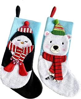 Fonder Mols 3D Polar Bear & Penguin Christmas Stockings, Baby First Christmas Stockings for Girl Boy, Wonderland Christmas Stockings Decorations(20inch)