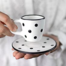 City to Cottage Handmade White and Black Polka Dot Ceramic 2oz/60ml | Espresso Cup and Saucer, Unique Designer Pottery Gift for Coffee Lovers