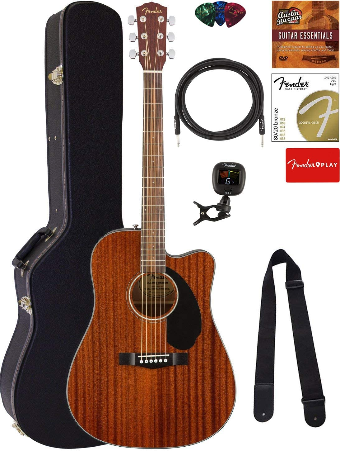 Fender CD-60SCE Dreadnought Sales Acoustic-Electric security Guitar Mahogany -