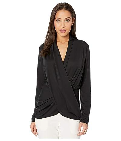 Nicole Miller Stretchy Matte Jersey Long Sleeve Drapey Top (Black) Women