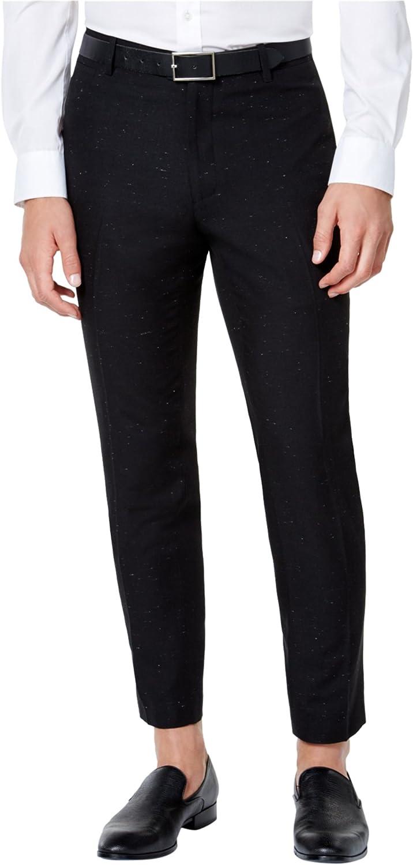 I-N-C Mens Speckled Casual Trouser Pants, Black, 30W x 30L
