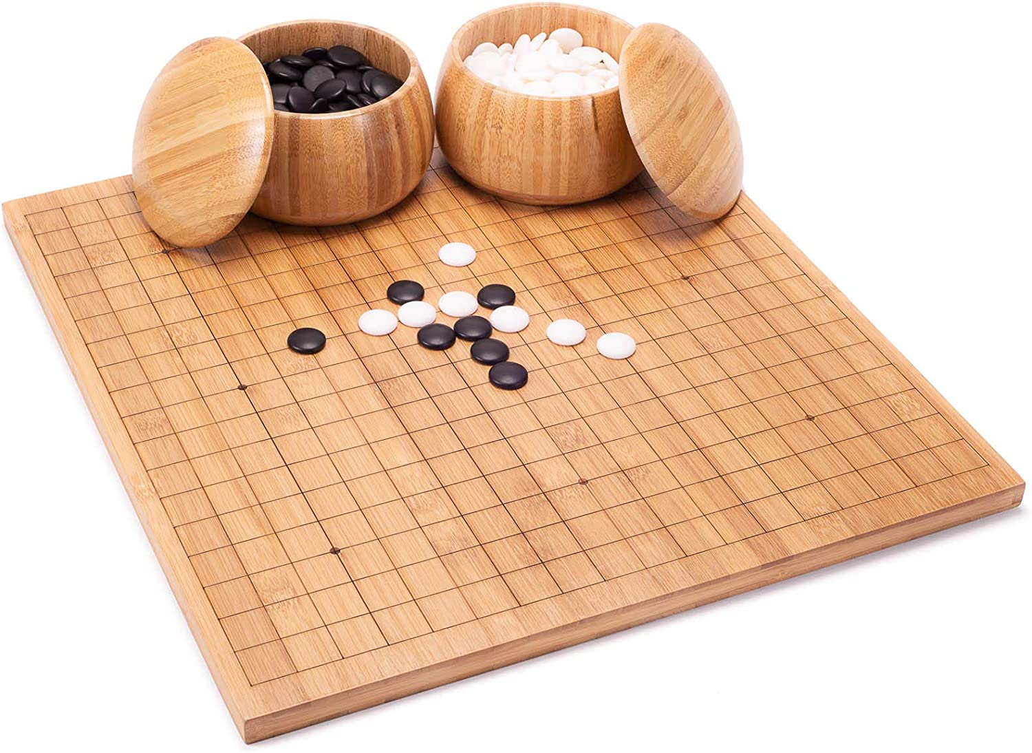 AMEROUS Go Set with Etched 13x13 Board Reversible Super intense SALE 19x19 Bamboo Industry No. 1