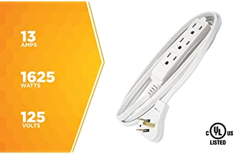 Woods SlimLine 2241 16/3 Flat Plug Indoor Extension Cord, 8-Foot, 3 Outlets, Right Angled Plug, Space Saving Design, ...
