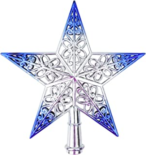 Beurio Blue Five-Pointed Star Christmas Tree Topper Decorations, 8