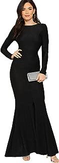 Women's Elegant Open Back Slit Glitter Bodycon Cocktail Party Long Dress