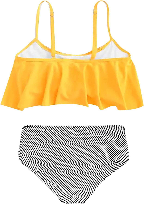 Women Printing Small Fresh Solid Color Swimsuit Split Bikini Set Swimwear