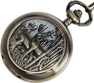 Men's Quartz Pocket Watch Steampunk Vintage Pocket Watch with Chain Roman Numerals Skeleton Pocket Watches with Gift Case