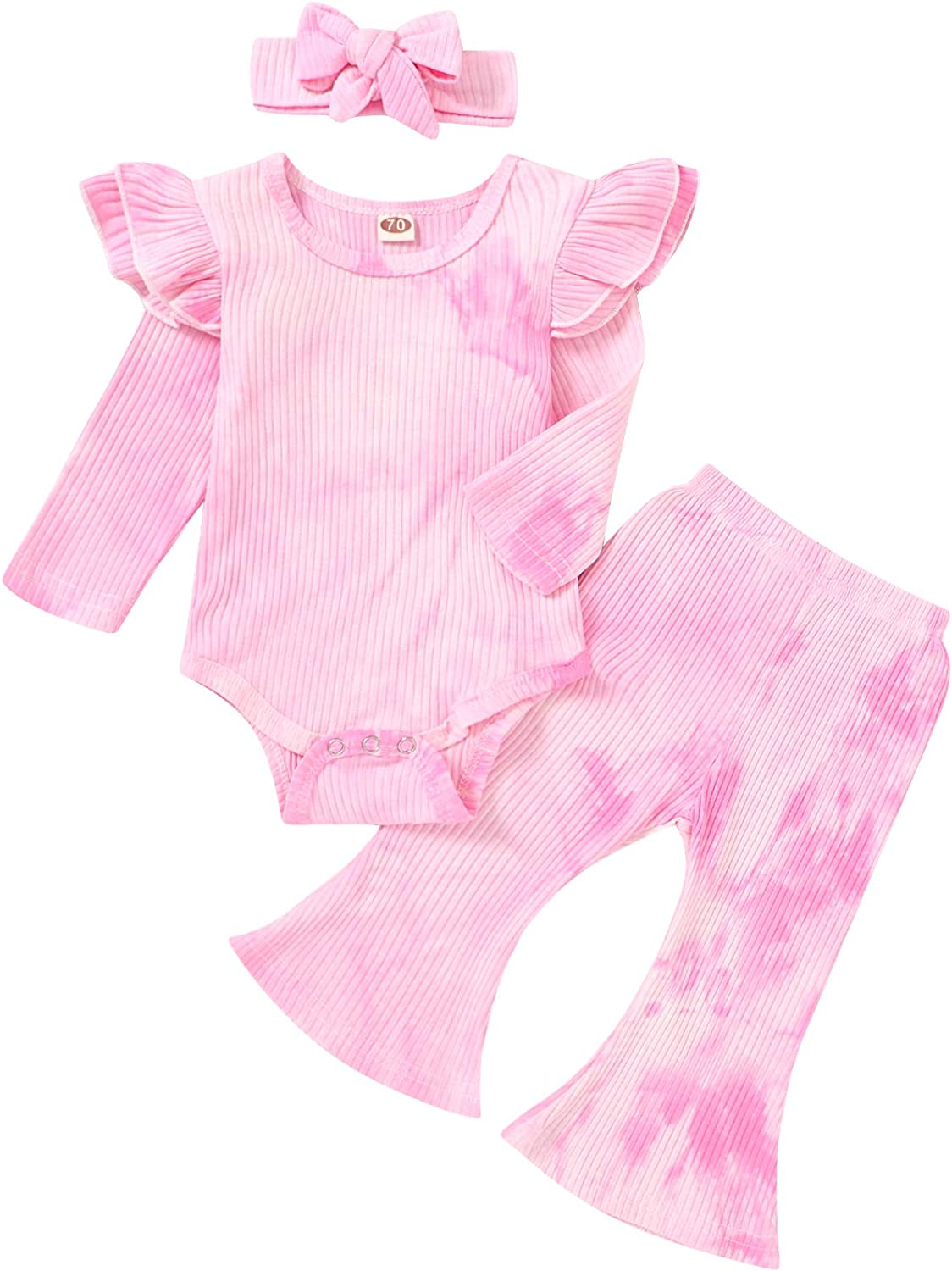 Newborn Baby Girl Ribbed Knit Fall Clothes Set Ruffle Long Sleeve Romper+Flare Pants+Headband Outfits