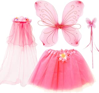 4Pcs Girls Princess Fairy Costume Set with Wings, Tutu, Wand and Floral Wreath Veil for Children Ages 3-6