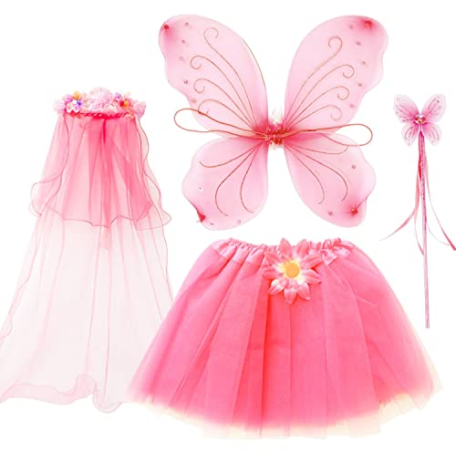 f611aba1f87f fedio 4Pcs Girls Princess Fairy Costume Set with Wings, Tutu, Wand and  Floral Wreath