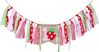 Strawberry Birthday Banner For 1 St Birthday – First Birthday Decor For Photo props, Strawberry Birthday Party For For Baby Shower, Best Party Supplies