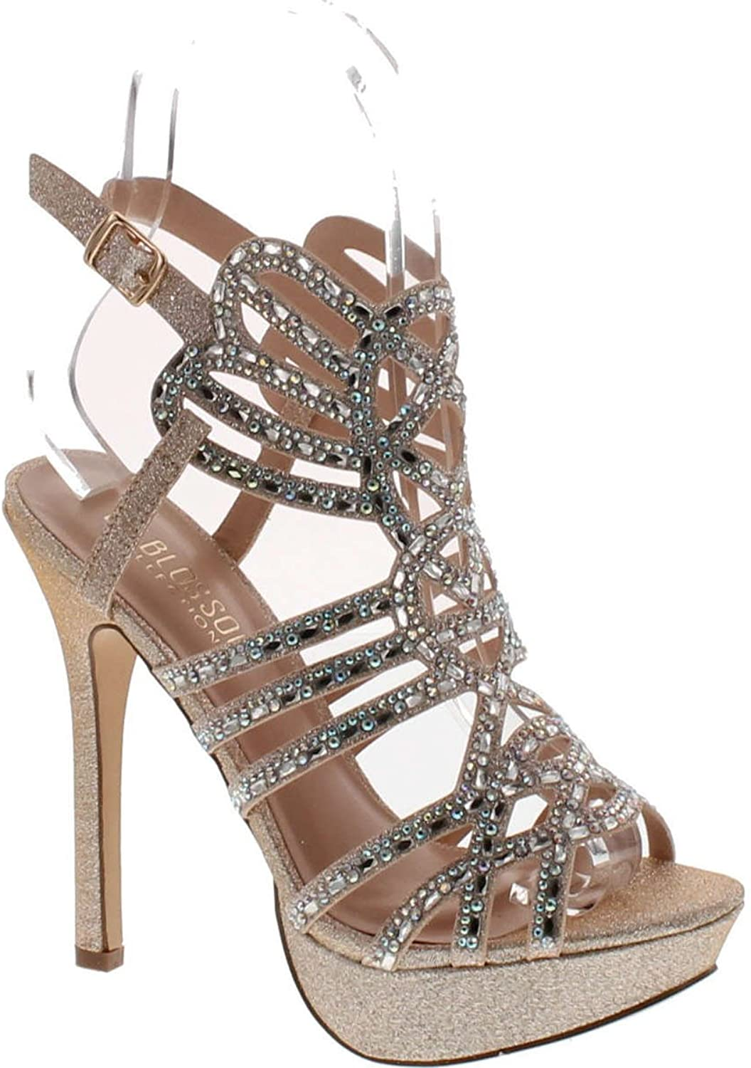 De Blossom Gap-28 Bridal Formal Evening Party Ankle Strap High Heel Peep Toe Glitter Sandal