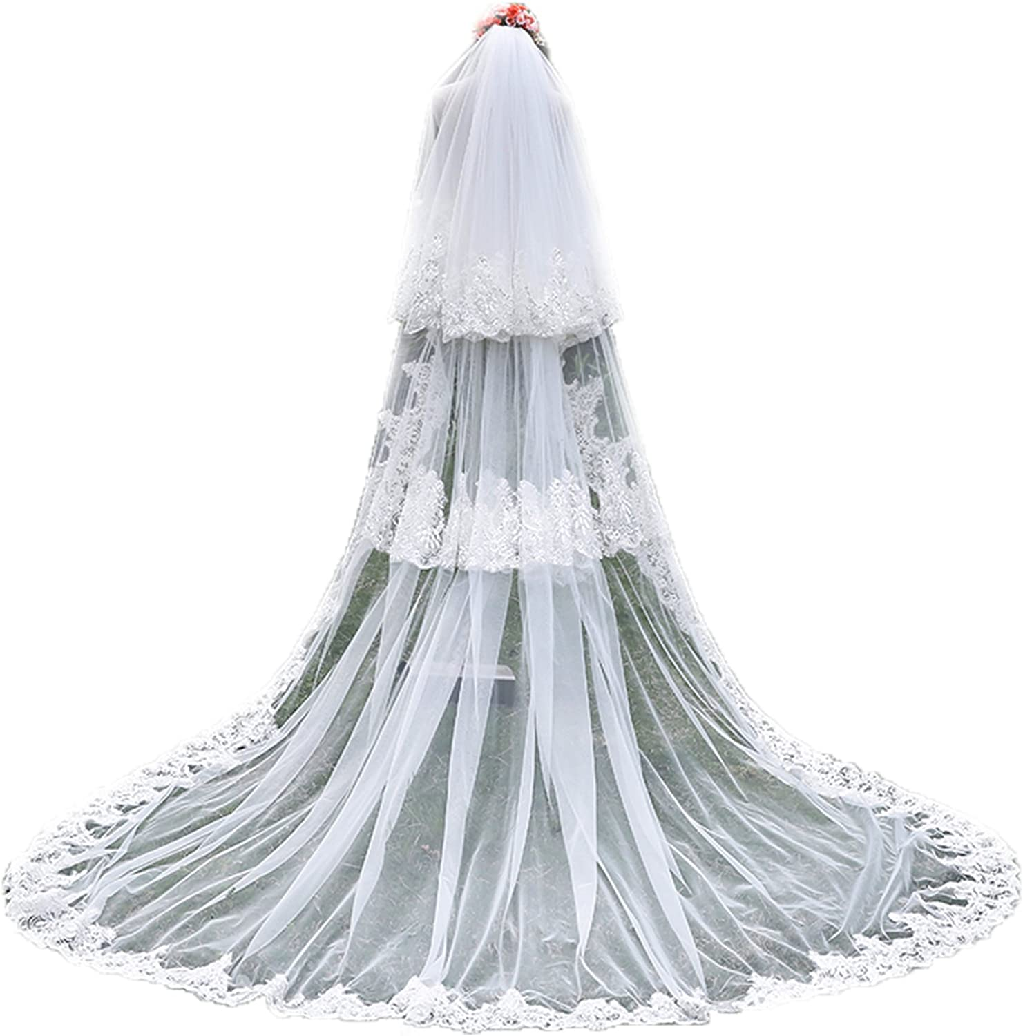 Beauty Bridal Tulle Sheer Lace Wedding Bridal Veils Cathedral for Bride