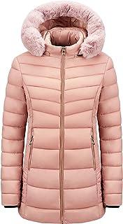 Gutsbox Damski płaszcz puchowy, długa kurtka zimowa, kurtka puchowa z kapturem ze sztucznego futra, pikowana kurtka