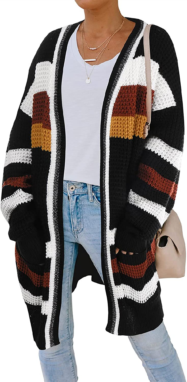 AMOMA Women's Color Block Stripes Raglan Sleeve Open Front Knitted Sweater Cardigan with Pockets