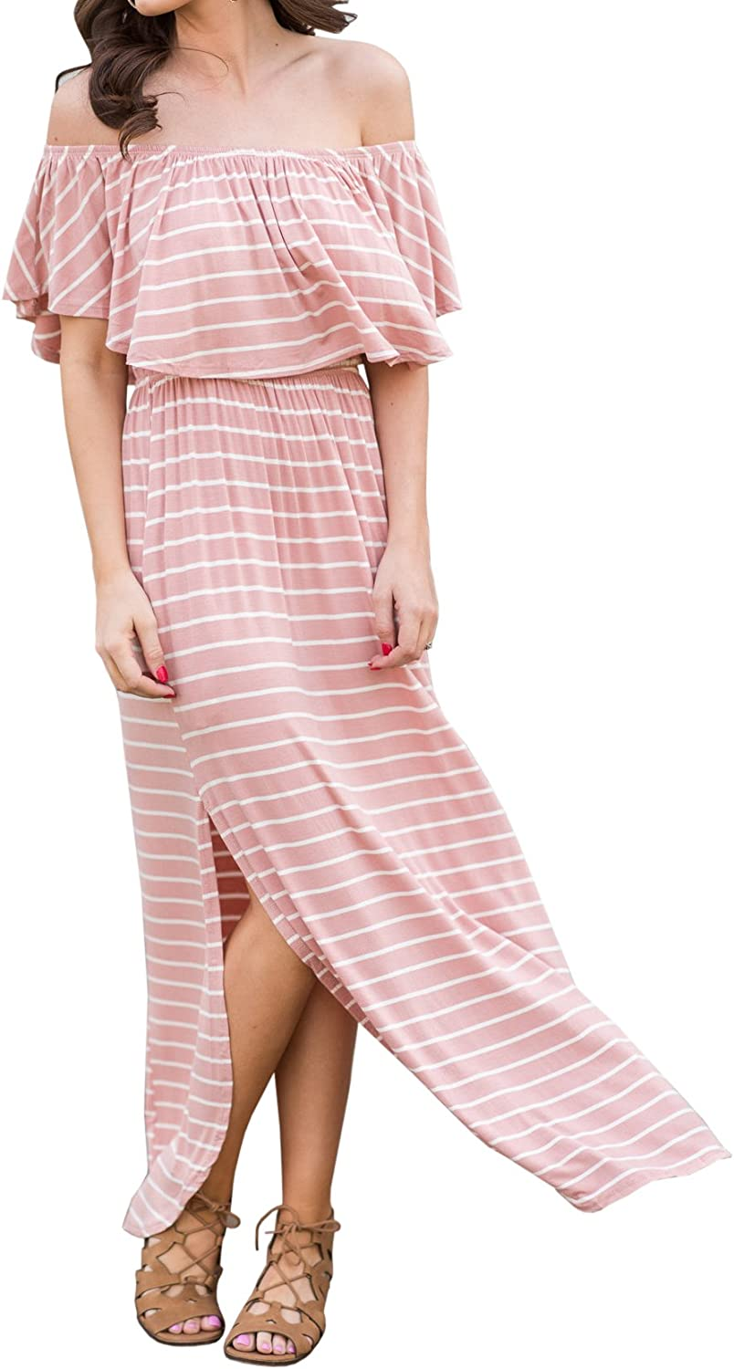 Gobought Womens Striped Off Shoulder Maxi Dress Ruffle Sleeve Split with Pockets