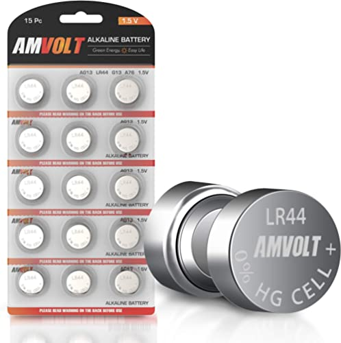 15 Pack LR44 AG13 A76 Battery - [Ultra Power] Premium Alkaline 1.5 Volt Non Rechargeable Round Button Cell Batteries ...