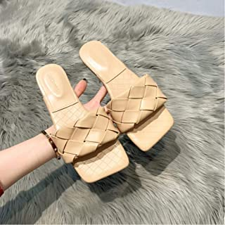 Fashion Woven Summer Slippers Ladies Casual Open-Toed Flat Sandals Ladies Comfortable Beach Slippers
