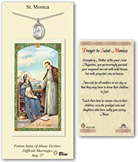 Pewter Saint Monica Medal with Laminated Holy Prayer Card