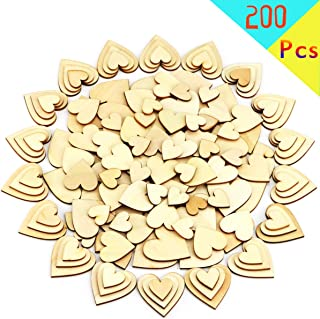 Newbested 200 Pcs 4 Size Wood Heart Blank Unfinished Wooden Shapes Slices Embellishment Ornament Discs Cutout Pieces Wedding Party Board Game DIY Art Crafts Projects
