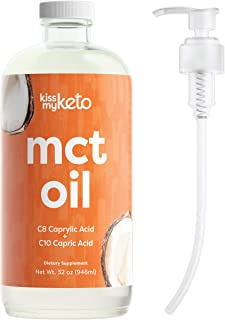 Kiss My Keto MCT Oil 32 oz — Premium MCT Oil C8 & C10 + Dosing Pump | Coconut Oil Medium Chain Triglycerides from Sustaina...