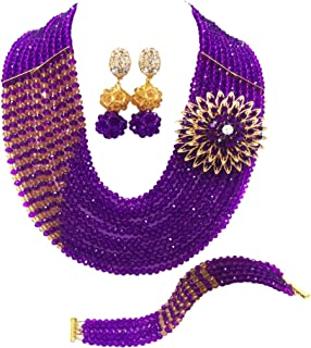 aczuv 10 Rows Fashion African Wedding Beads Nigerian Beaded Jewelry Set Bridal Party Jewelry Sets