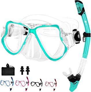 JARDIN Dry Snorkel Set, Panoramic Wide View Snorkel Mask, Anti-Fog Tempered Glass Diving Mask, Free Breathing& Easy Adjust...