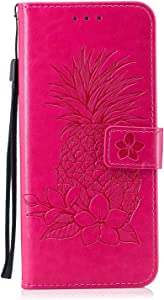 DENDICO Case Galaxy Plus Leather Cover Pineapple Embossed Wallet Flip Case with Card Holder for Samsung Galaxy Plus Full body Protective Shockproof Case Hot Pink