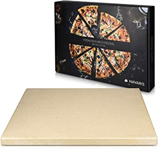 Navaris Pierre à Pizza pour Four XL - Pierre Pizza Rectangulaire 38 x 30 cm en Cordiérite - Pour Four Traditionnel au Bois...