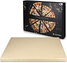 Navaris XL Pizza Stone for Baking - Cordierite Pizza Stone Plate for BBQ Grill Oven - Cook and Serve Pizza Bread Cheese - ...