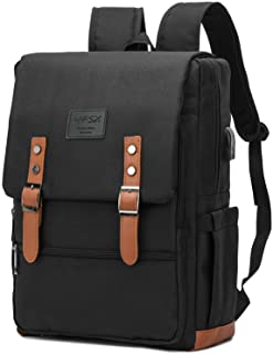 Vintage Backpack Anti Theft Laptop Backpack Men Women Business Travel Computer Backpack School College Bookbag Stylish Water Resistant Vintage Backpack with USB Port Fits 15.6 Inch Laptop Black