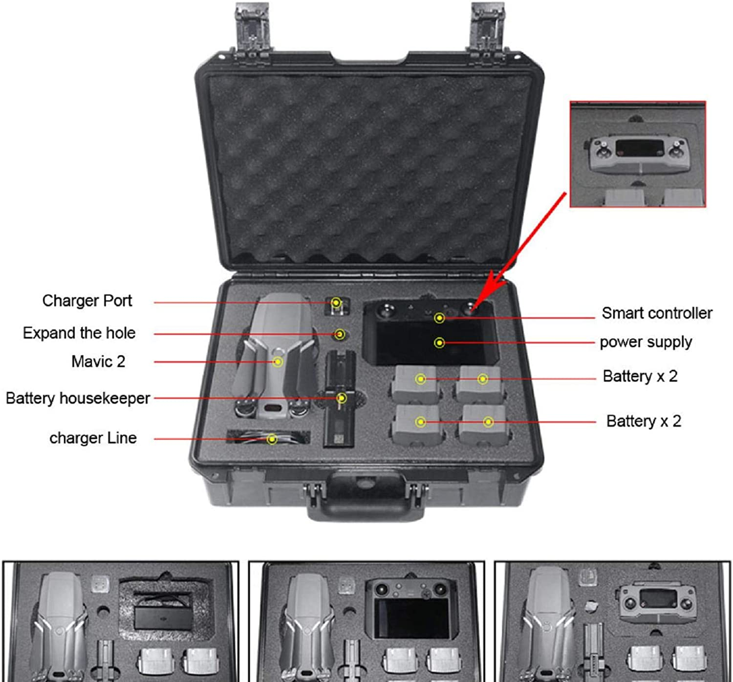 Cinhent Switch System Carrying Case – Predective Deluxe Travel System Case Military Spec Hardshell Carrying Case Bag for DJI Mavic 2 & Smart Controller