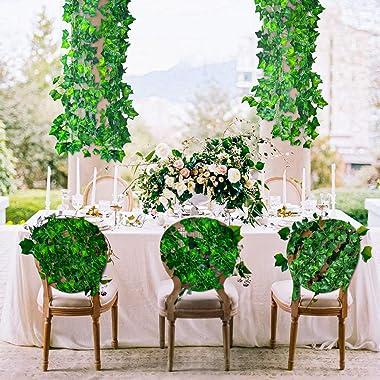 CQURE 24 Pack 168Ft Artificial Ivy Garland,Ivy Garland Fake Vines Leaf Garland UV Resistant Green Leaves Fake Plants Hanging