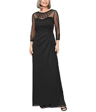 Alex Evenings Long A-Line Dress with Beaded Sweetheart Illusion Neckline (Black) Women