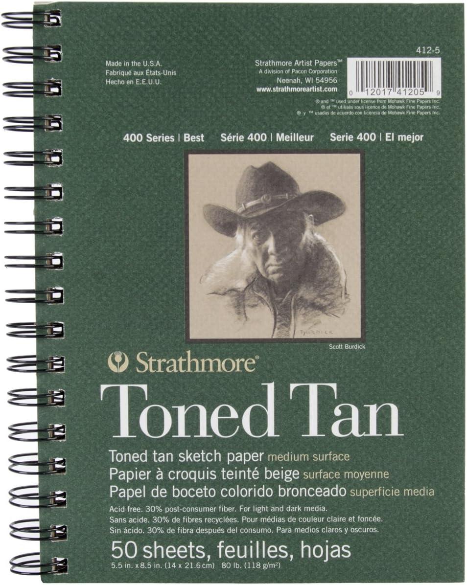 50 Sheets 5.5 inch x 8.5 inch Tan Drawing Toned Sketch Pad