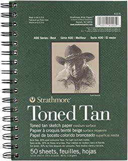 "Strathmore STR-412-5 50 Sheet Toned Tan Sketch Pad, 5.5 by 8.5"""