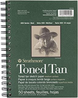 "Strathmore Drawing 400 Series Toned Tan Sketch Pad 5.5""x8.5"" 50 Sheets"