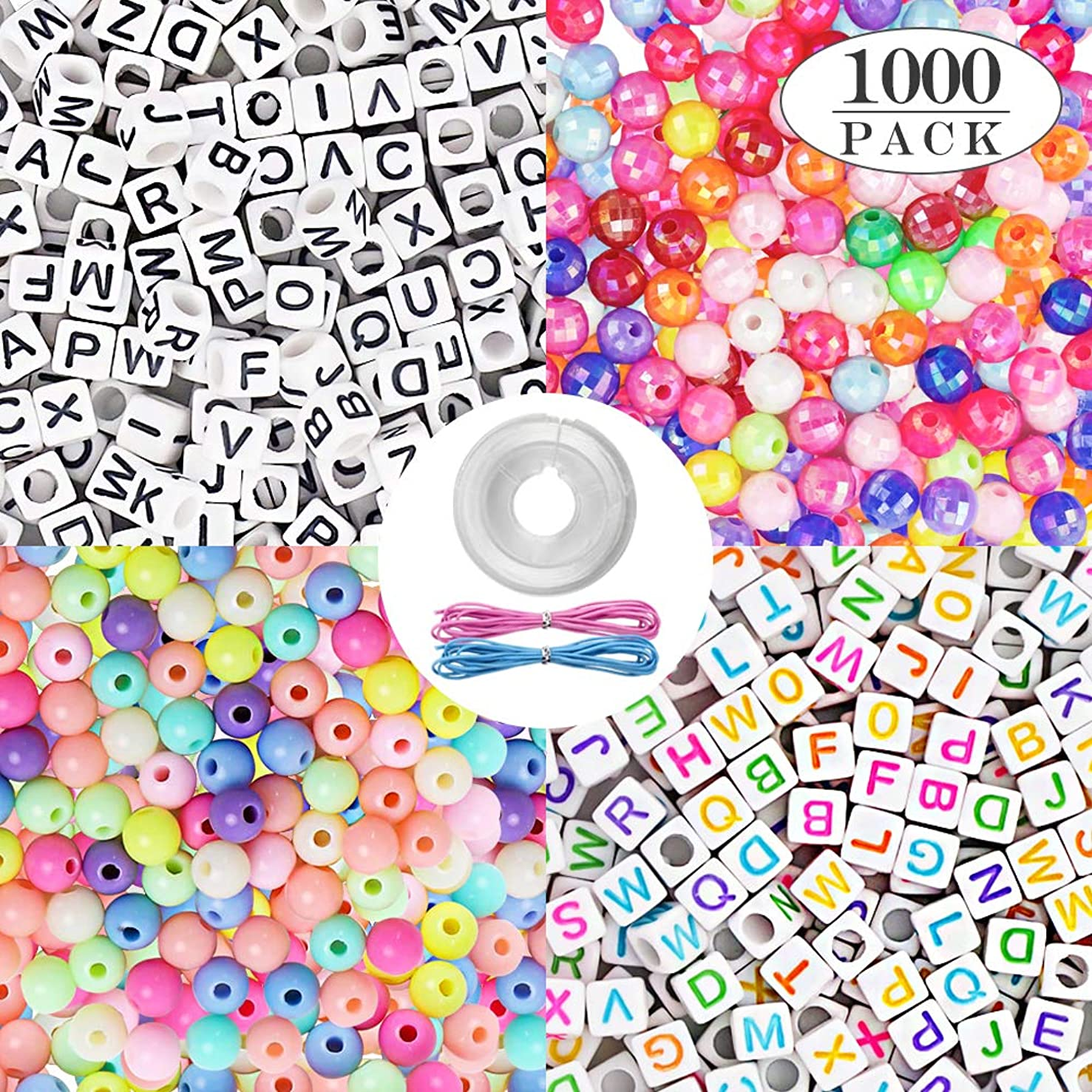 Quefe 1000pcs 4 Kinds Acrylic Alphabet Letter Beads and Color Round Beads with Elastic Cord Crystal String Cord for Jewelry Making DIY Necklace Bracelet(6mm) (B-2 Kinds)