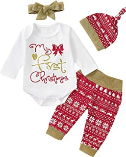 4PCS Baby Girls My First Christmas Outfit Xmas Gold Glitter Bodysuit with Hat and Headband