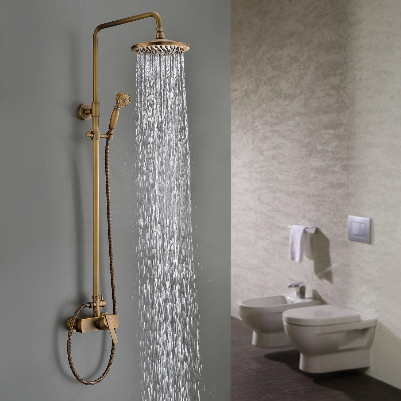 Sprinkle Messing antik Badezimmer Dusche Wasserhahn w 20,3cm Dusche Kopf, Arm, Keramik Ventil von Sprinkle
