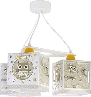 Dalber Lámpara Infantil de techo 3 Luces Good Night Búhos Beige animales, 60 W