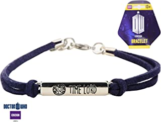 Inspired Silver Dr. Who Time Lord Engraved Symbol Leather Bracelet with Lobster Claw Closure