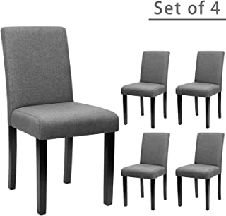 Furniwell Dining Chairs Fabric Upholstered Parson Urban Style Kitchen Side Padded Chair..